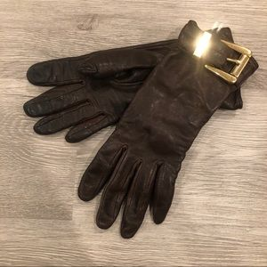 Michael Kors Leather Buckle Gloves